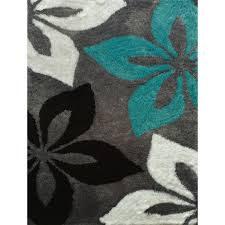 Area Rugs 6 X 10 Hand Tufted Turquoise And Grey Shag Area Rug 7 U00276