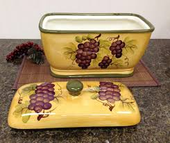 amazon com kitchen decor grape desing tuscany wine bread canister
