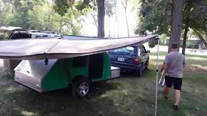 Awning For Tent Trailer Oztent Foxwing Awning For Teardrop Trailer Youtube