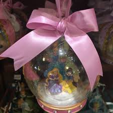 disney parks ornament glass 4 princess pink rapunzel ne
