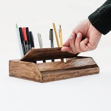 Wood Desk Accessories by Vintage Wood Desk Organizer Rustic Desk Accessories
