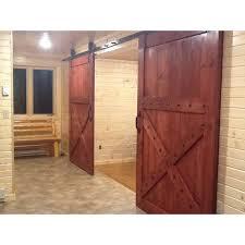 spanish design sliding barn door half x design sedona red