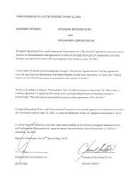 Terminate A Contract Letter Fourth Addendum To A Letter Of Intent Of May 12 2014 By