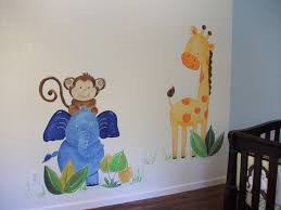 childrens painted wall murals cathie s murals childrens murals nursery jungle animals blue elephant and