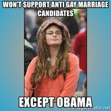 Anti Gay Meme - won t support anti gay marriage candidates except obama hippie