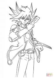 yusei fudo from yu gi oh 5ds coloring page free printable