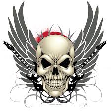 skull guitar and wings design print forney store