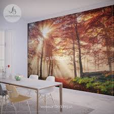 autumn sun rays in forest photo wall mural artbedding autumn sun rays in forest wall mural autumn forest mill photo mural self adhesive