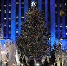 rockefeller center tree lights up new york city