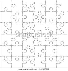 jigsaw puzzle blank template 6x4 elements stock vector 316787030