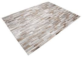 Modern Rugs San Francisco Patchwork Cowhide Rug Stripes Design In White Gray And Beige