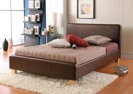 bed brown leather bed frame home interior decorating ideas