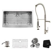 Kraus Kitchen Faucet Kraus All In One Farmhouse Apron Front Stainless Steel 36 In