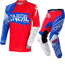 motocross jerseys and pants oneal element 2018 burnout motocross jersey u0026 pants red white blue