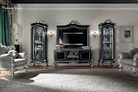 Italian Tv Cabinet Furniture Classic Salon With Furniture Decorated With Gold And Silver Leaf