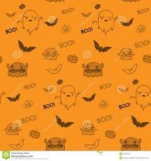 free halloween orange background pumpkin cartoon ghost and pumpkin seamless halloween pattern background