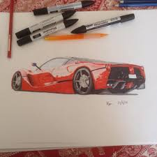 ferrari laferrari sketch just finished la ferrari drawing marker render hope you like it