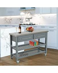 country style kitchen islands deals on homcom country style kitchen island rustic rolling