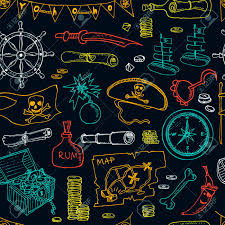 Black Flag Hat Pirates Seamless Pattern Pirate Hat Swords Guns Treasure Chest
