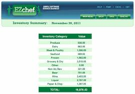 ezchefsoftware inventory menu costing and analysis for