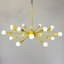 18 Light Starburst Chandelier Mid Century 18 Light Arms Large Yellow Color Sputnik Chandelier