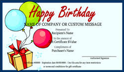 birthday certificate template gift certificate templates free