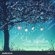 hanging decorative holiday lights back yard stock vector 439322902