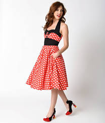 Ashley White 1950s Style Red U0026 White Polka Dot Ashley Halter Swing Dress