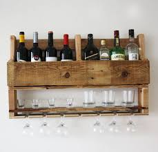 wine rack wall mounted alcohol bar wall decor wooden rustic
