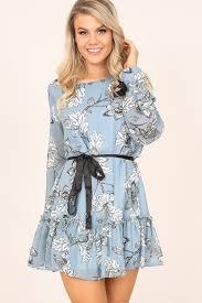 light blue long sleeve dress light blue floral print long sleeve chiffon casual dress 037095