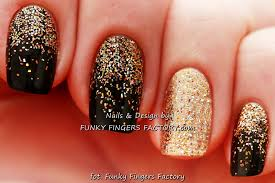 black u0026 gold glitter ombre shellac nails funky fingers factory
