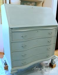 secretary desk makeover w duck egg blue u0026 3 colored waxes chalk