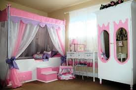 bedroom cream wall brown floor canopi bed pink drawers picture
