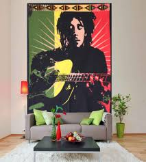 Bob Marley Home Decor Marley With Guitar Hippie Wall Tapestry