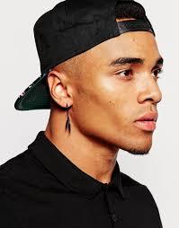 mr t feather earrings lyst asos feather hoop earring pack in black in black for men