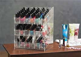 nail polish counter display tri level slide feed lacquer holder