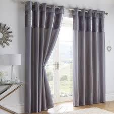 Grey And Silver Curtains Boulevard Velvet Border Fully Lined Ring Top Curtains Silver