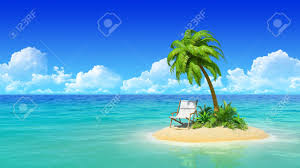 desert tropical island with palm tree and chaise lounge concept
