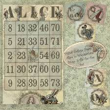 digital download printable alice wonderland collage sheet bingo