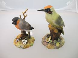 royal crown derby birds 2 figures of woodpecker and bullfinch