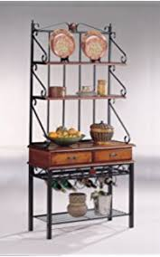 Bakers Rack With Wine Glass Holder Amazon Com Metal Bakers Rack With Wine Storage Wine Glass