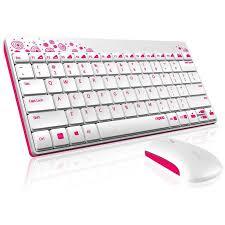 imagenes en blanco y rosa rapoo 8000 teclado ratón wireless blanco rosa pccomponentes