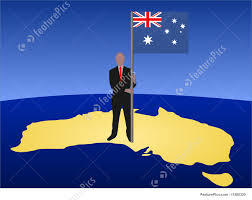 Austrslia Flag Man With Australian Flag Stock Illustration I1380325 At Featurepics
