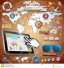 Map A Trip Vector Summer Travel Infographic Set With World Map And Vacation