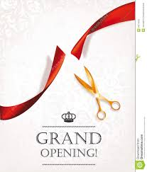 Inauguration Invitation Card Sample Grand Opening Card With Gold Scissors Stock Vector Image 49514502