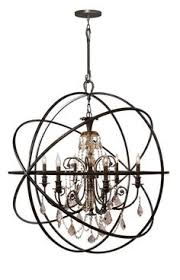 Sphere Chandelier With Crystals Chandelier With Painted Wrought Iron Sphere And A