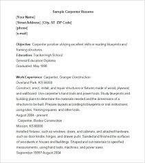Sample Of Work Experience In Resume by Carpenter Resume Template U2013 9 Free Samples Examples Format