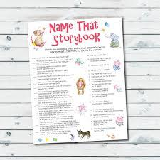 storybook baby shower games storybook quiz printable name