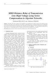 mho distance relay of transmission line high voltage using series