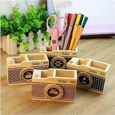 Desk Pencil Holder Wooden Camera Pattern Desk Pen Pencil Holder Storage Box For